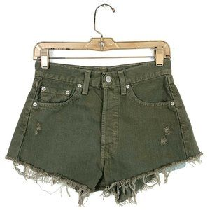 Levis 27 Distressed Shorts Button Fly Cut Offs